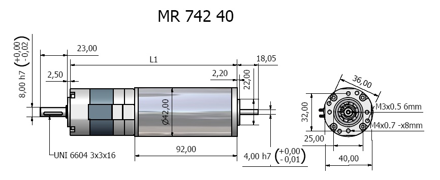 Gear motor with planet gear MR 742 40 drawing Bernio