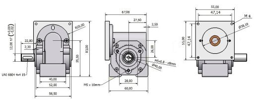 Worm gearbox VSF 26 Nema 23 drawing BERNIO