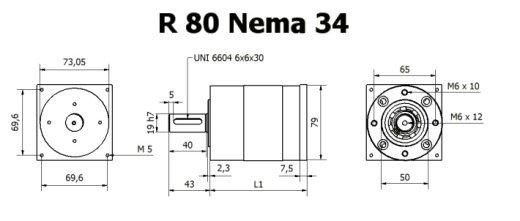 Gear box R 80 Nema 34 drawing BERNIO