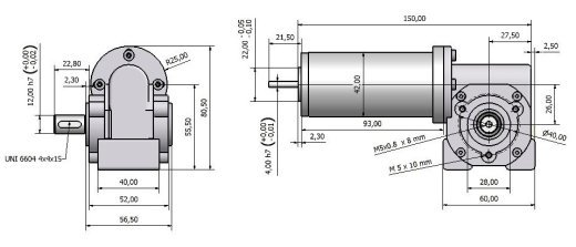 Gear motor with worm gear MVSF 742 26 drawing BERNIO