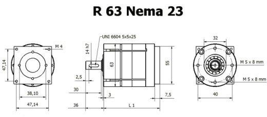 Gear box R 63 Nema 23 drawing BERNIO