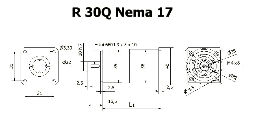 Gearbox R 30 Q Nema 17 drawing BERNIO