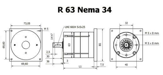 Gear box R 63 Nema 34 drawing BERNIO